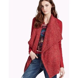 NWT Lucky Brand Red Metallic Cardigan